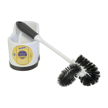 Toilet Bowl Brush with Rim Cleaner and Holder Set - Toilet Bowl Cleaning System with Scrubbing Wand, Under Rim Lip Brush and Storage Caddy for Bathroom (4470)
