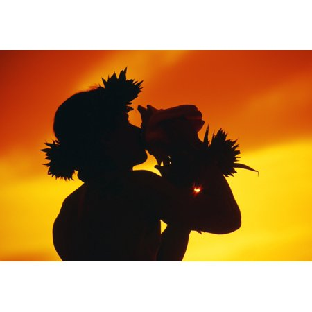 Hawaii Maui Napili Silhouette Of Man Blowing Conch Shell At Sunset Fiery Orange Sky (Blow Conch Shell)