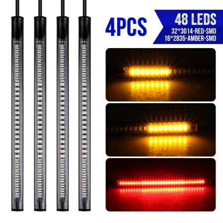 - Car LED Strip Lights, EEEKit 4-Pack Multi-Color 48 LEDs Car Motorcycle Light Kit Strips Tail Brake Stop Turn Signal Driving Running Light for Cars SUV Vans Trucks ATV