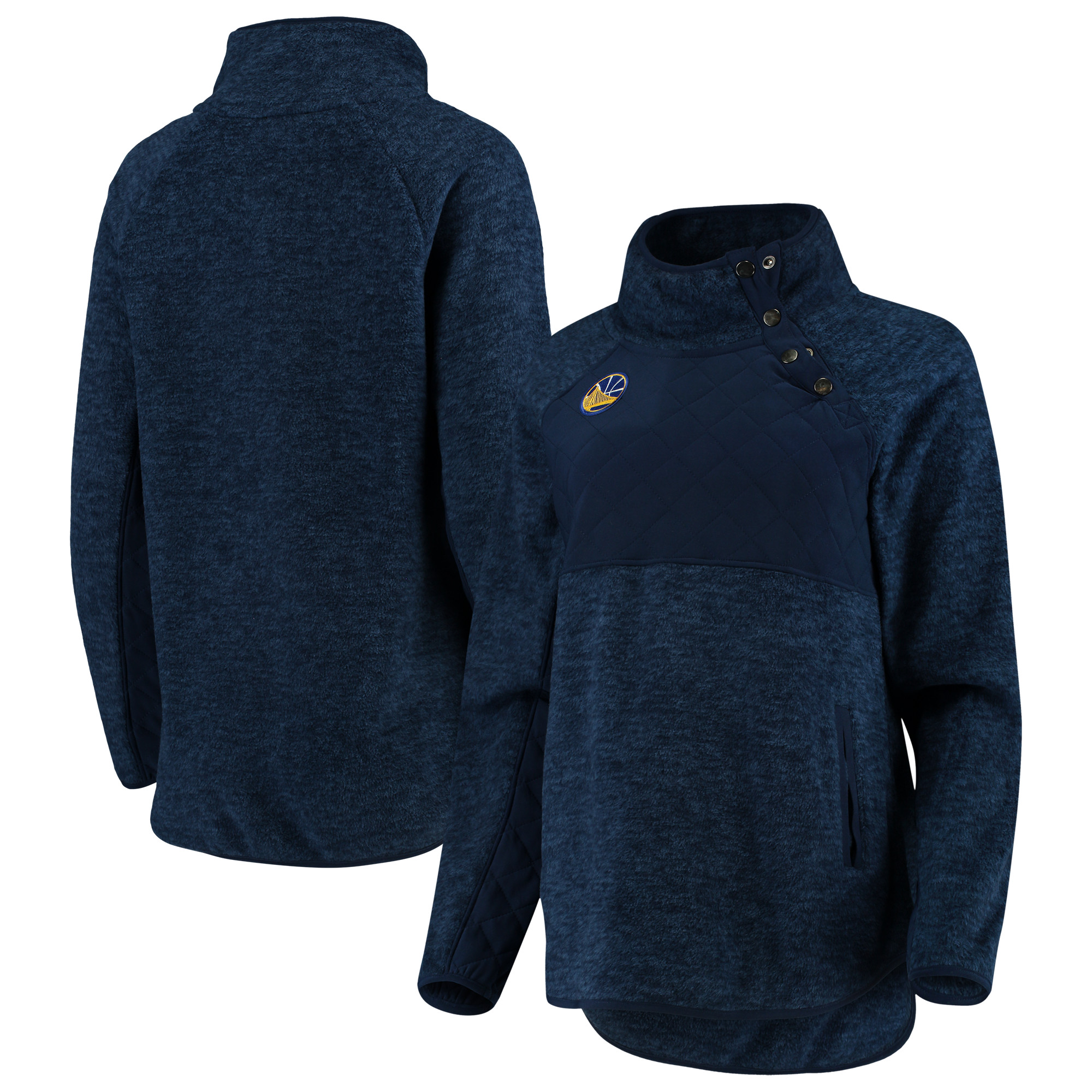 Golden State Warriors Women's Sidenote Quilted Snap-Up Pullover Jacket - Navy