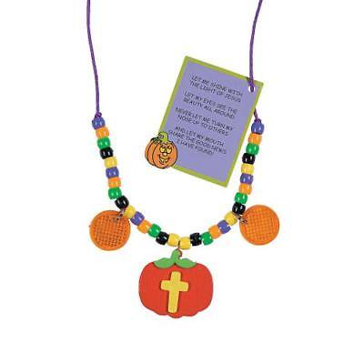 IN-48/7040 Christian Pumpkin Beaded Reflector Necklace Craft Kit Makes - Christian Crafts