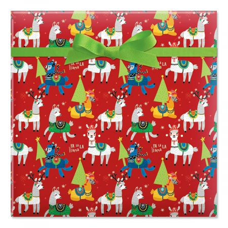 Merry Llamas Jumbo Rolled Gift Wrap- Giant Roll of Fun Holiday Gift Wrap, 67 Square Feet