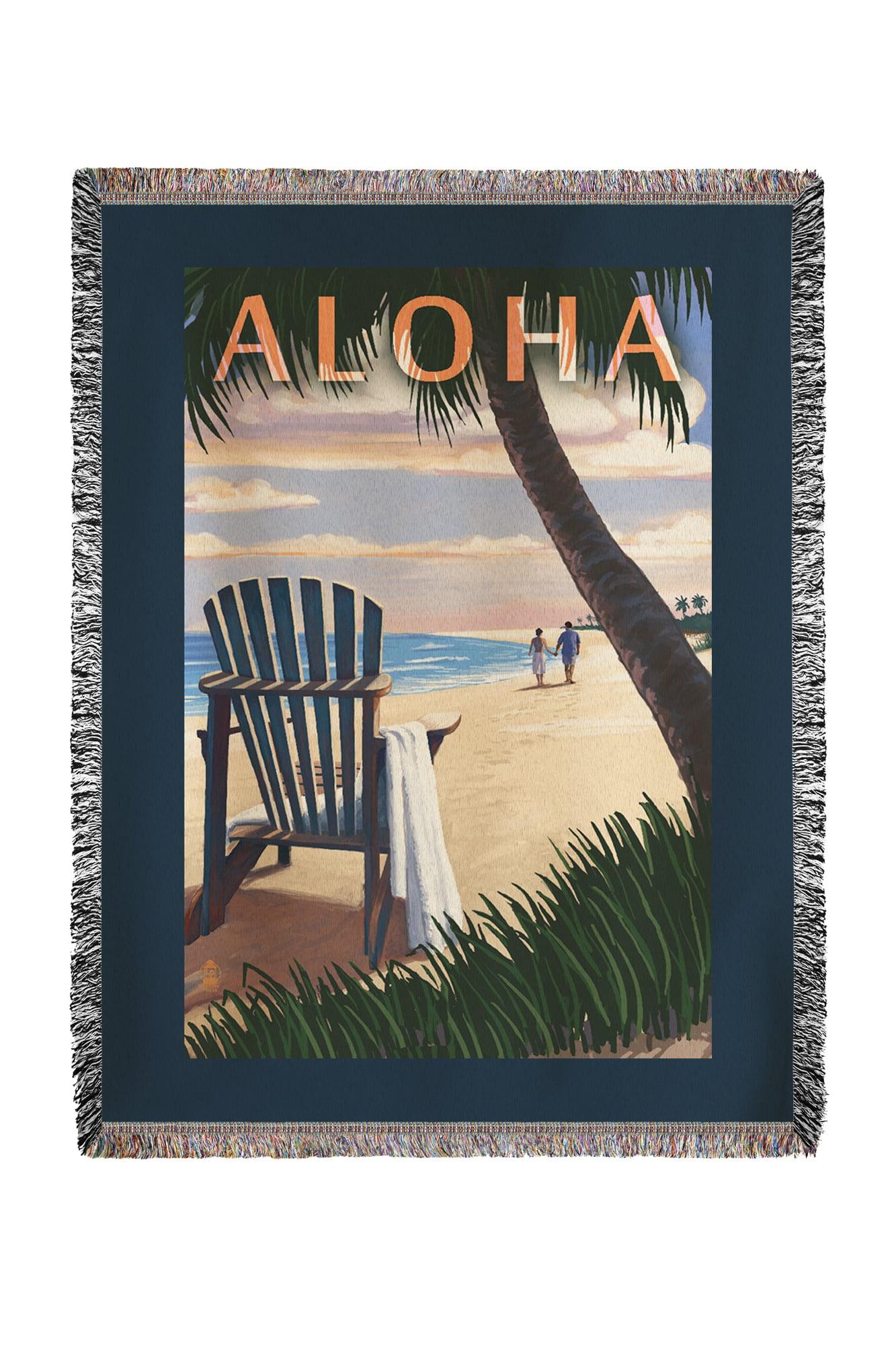 Adirondack Chairs & Sunset Aloha Lantern Press Artwork (60x80 Woven Chenille Yarn Blanket) by Lantern Press