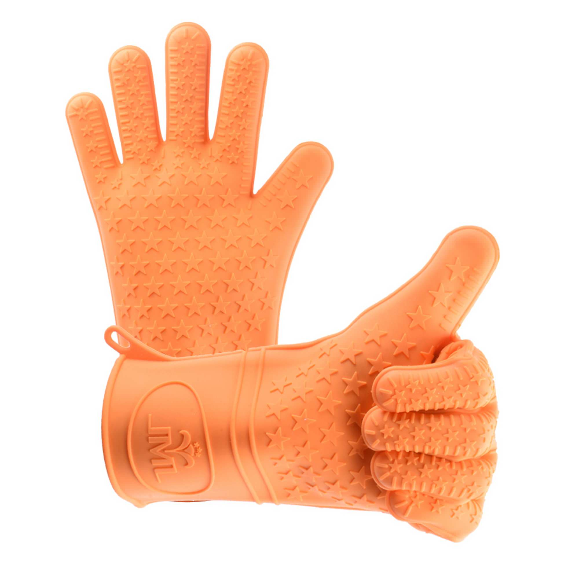 JML Silicone BBQ Gloves Set Of 2,No-Slip,Heat Resistant Cooking Gloves Oven Mitts For Grilling - Directly Manage Hot Food Orange