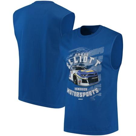Chase Elliott Checkered Flag Muscle Shirt - Royal (Checkered Flag Dress)