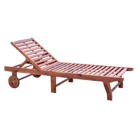 Wood Outdoor Lounge Chair (Outsunny Wood Outdoor Folding Chaise Lounge Chair with Rolling Wheels)