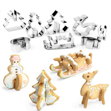 3D Stainless Steel Cartoon Christmas Cookie Mould Set Baking Tool Cake Biscuit Cutter Decoration Cookie cutter - image 3 de 6