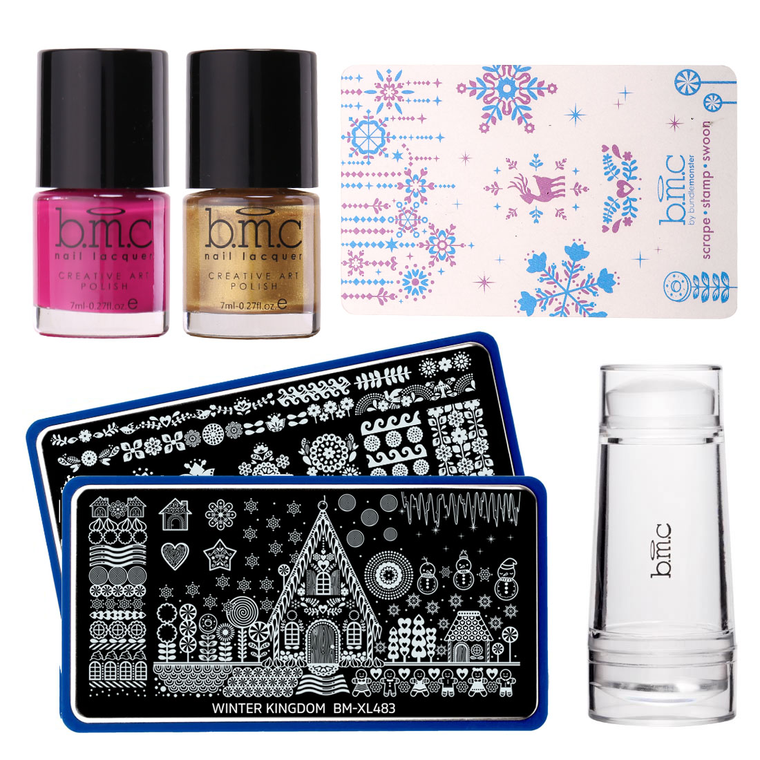 BMC Sugar Coated: Christmas Nail Stamping Starter Kit - 2 Plates, 2 Polishes, Scraper, & Stamper