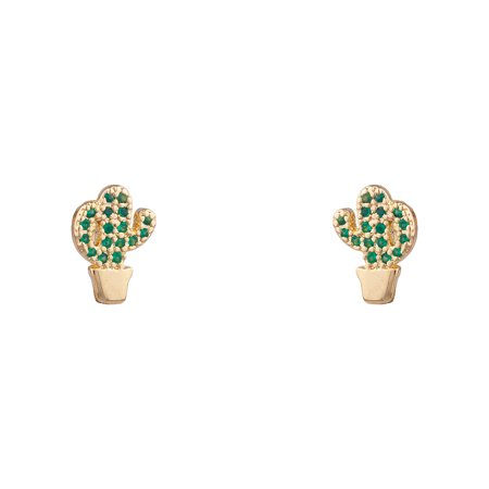 Lux Accessories Gold Tone Cactus Pot Shape Green Faux Rhinestones Stud Earrings