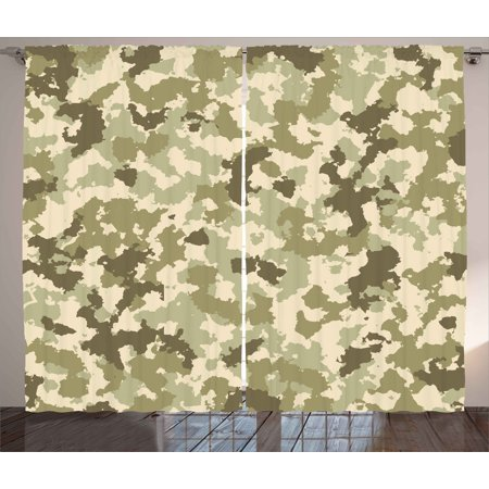 Camo Curtains 2 Panels Set, Old Fashioned Camouflage Pattern Classical Jungle Survival Theme, Window Drapes for Living Room Bedroom, 108W X 63L Inches, Army Green Pale Green Cream, by - Camouflage Theme