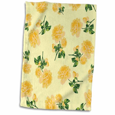 Shabby Chic Cream - 3dRose Floral Shabby Chic Golden Yellow Roses on Lemon Cream - Towel, 15 by 22-inch