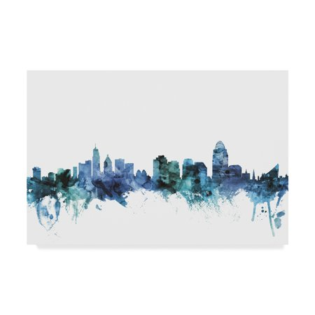 Trademark Fine Art 'Cincinnati Ohio Blue Teal Skyline' Canvas Art by Michael Tompsett - Halloween Stores Cincinnati Ohio