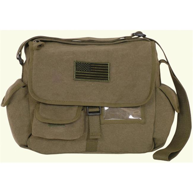 Fox Outdoor 43-072 Retro Messenger Bag With Usa Emblem - Olive Drab