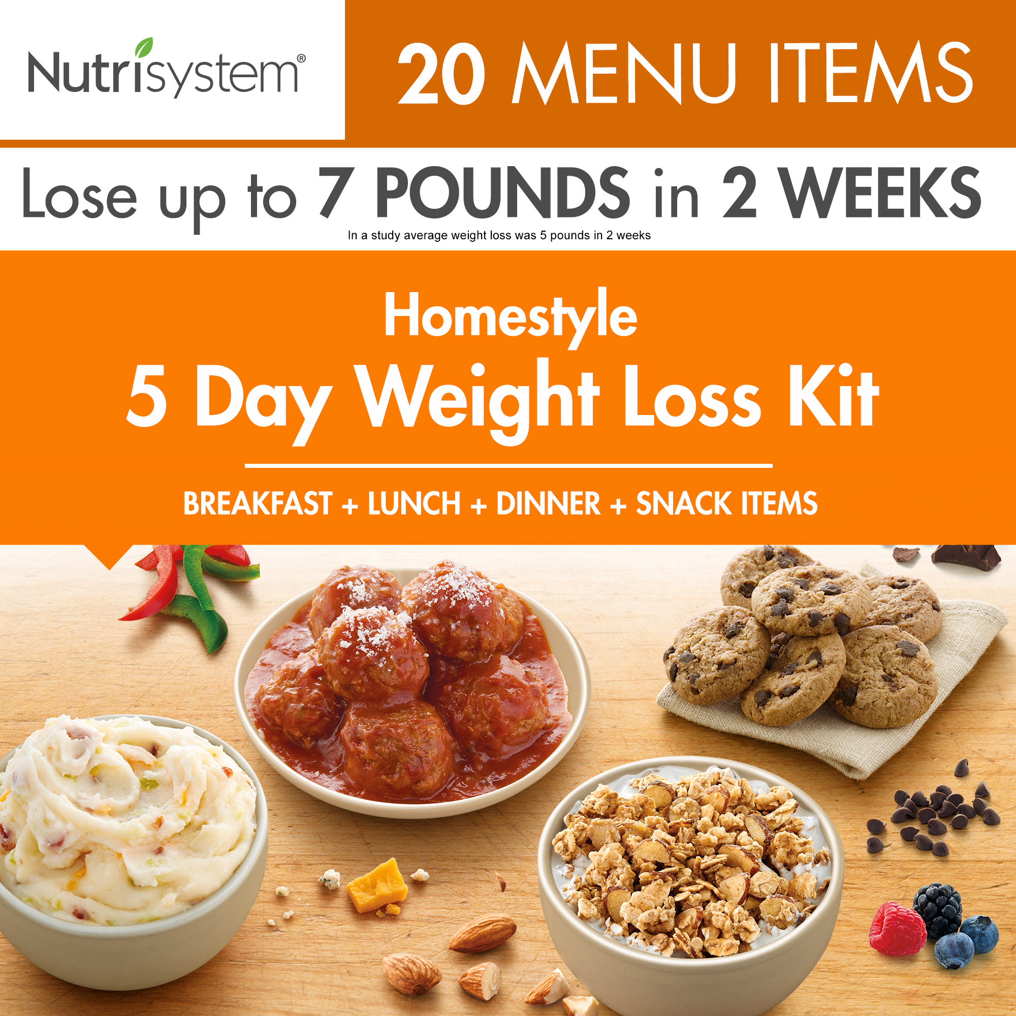 Nutrisystem 5 Day Homestyle Weight Loss Kit, 4.5 lbs, 15 Meals and 5 Snacks