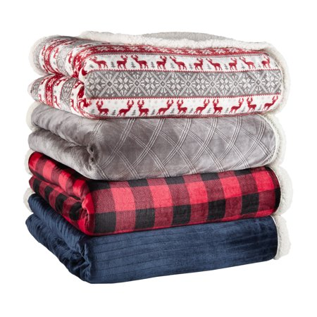 Better Homes & Gardens Full/Queen Sherpa Blanket, Red & Black Buffalo Plaid