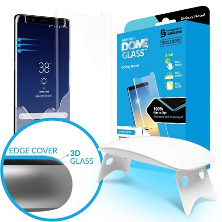 Galaxy Note 8 Screen Protector Tempered Glass Shield, [Liquid Dispersion  Tech] 3D Curved Full Coverage Dome Glass, Easy Install Kit and UV Light by