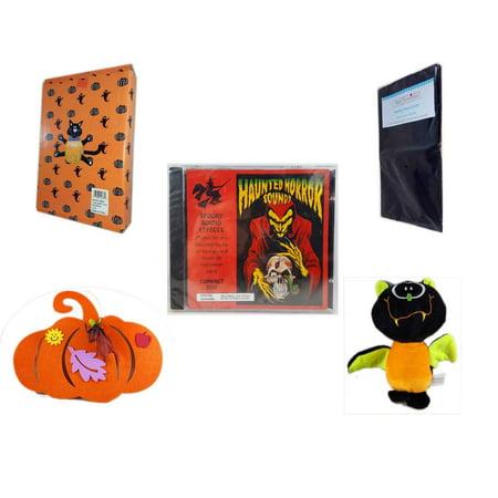 Halloween Fun Gift Bundle [5 Piece] -  Cat Pumpkin Push In 5 Piece Head Arms Legs - Black Plastic Table Cover  - Haunted Horror Sounds CD -  Felt Pumpkin Decoration - Plush Appeal  Bat Plush 8