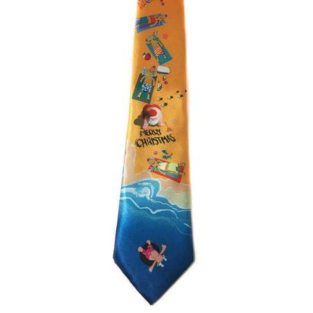 Men's Beach Christmas Tie - Merry Christmas Beach Necktie (Merry Christmas Tie)