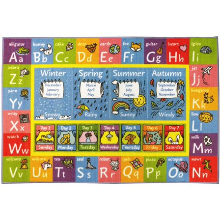 KC CUBS Playtime Collection ABC, Seasons, Months and Days of the Week Educational Learning Area Rug Carpet For Kids and Children Bedrooms and Playroom (5' 0