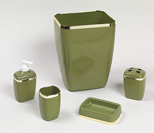 Royal Bath 5-Piece Plastic Bath Accessory Set (Sage Gold) by