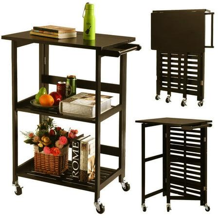 167e11f4aacf Ktaxon 3-Tier Folding Rolling Wood Kitchen Cart Dining Storage Serving Cart  Island Trolley w/Casters