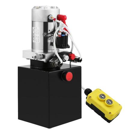 VEVOR Hydraulic Power Unit 4 Quart Double Acting Hydraulic Pump Unit 12V Steel Tank Hydraulic Pump for Dump (Hydraulic Trailer)