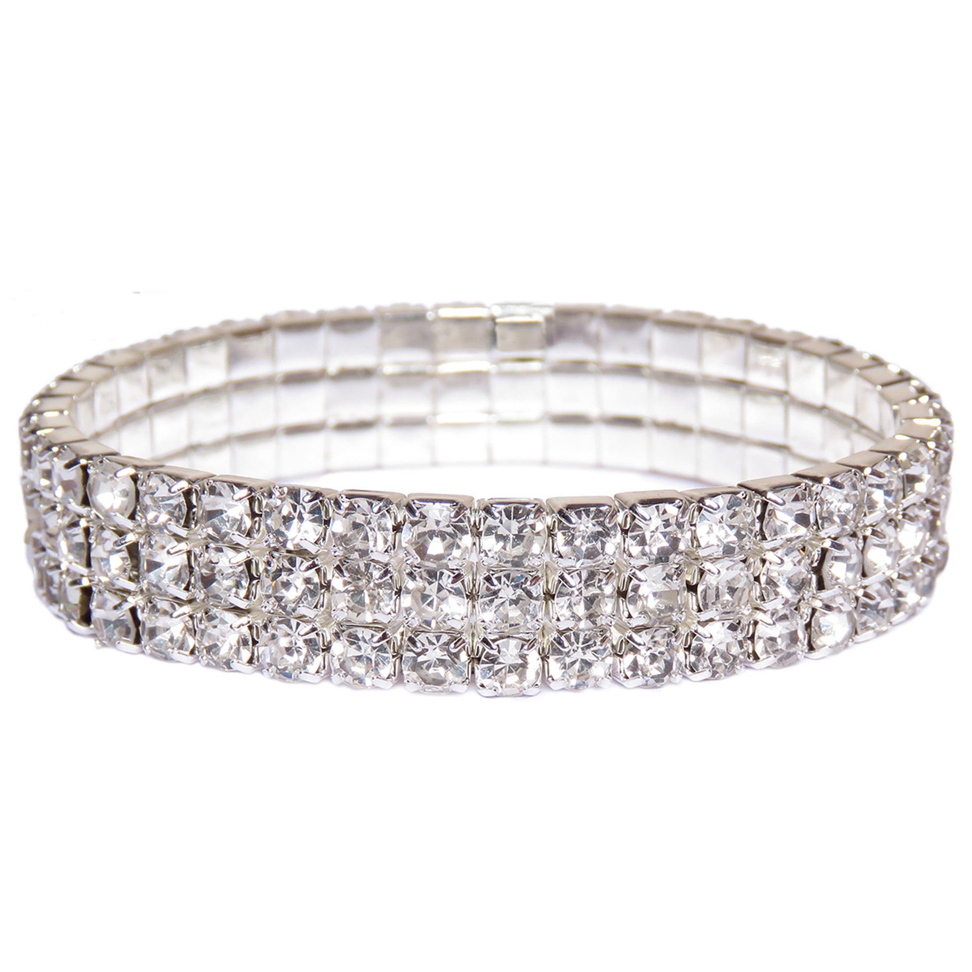Oussum Silver Crystal Tennis Bracelets For Women Three