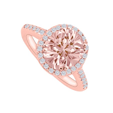 Morganite and CZs Halo Rose Gold Engagement Ring - image 1 de 2