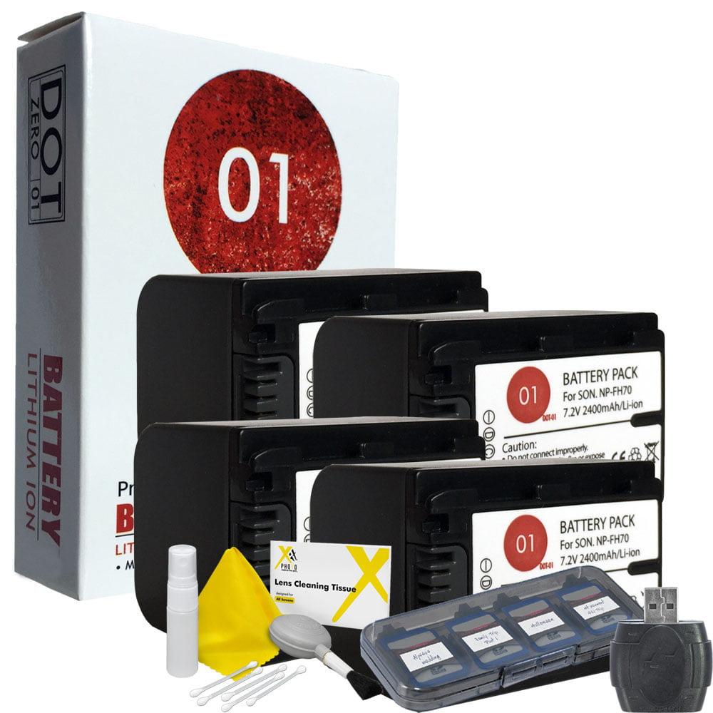 4x DOT-01 Brand 2400 mAh Replacement Sony NP-FH70 Batteri...