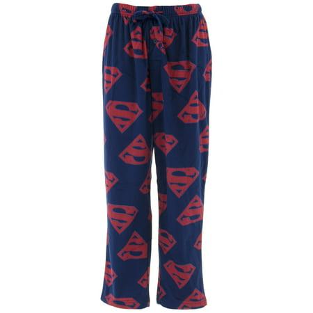 DC Comics Men's Superman Logo Navy Sueded Fleece Pajama Pants](Mens Onesie Superman)