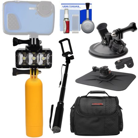 Precision Design WPL40 Waterproof Underwater Diving LED Video Light + Buoy + Suction Cup + Selfie Stick Kit for Waterproof Point + Shoot, GoPro, Action