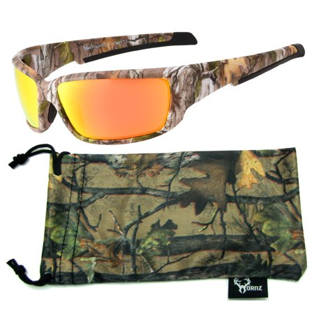 b2f393cbd08 Hornz - Hornz Brown Forest Camouflage Polarized Sunglasses for Men Full  Frame Strong Arms   Free Matching Microfiber Pouch - Brown Camo Frame -  Orange Lens ...