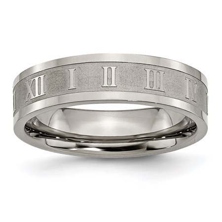 Titanium Roman Numerals 6mm Flat Wedding Ring Band Size 13.00 Designed Fashion Jewelry Gifts For Women For Her - image 10 de 10