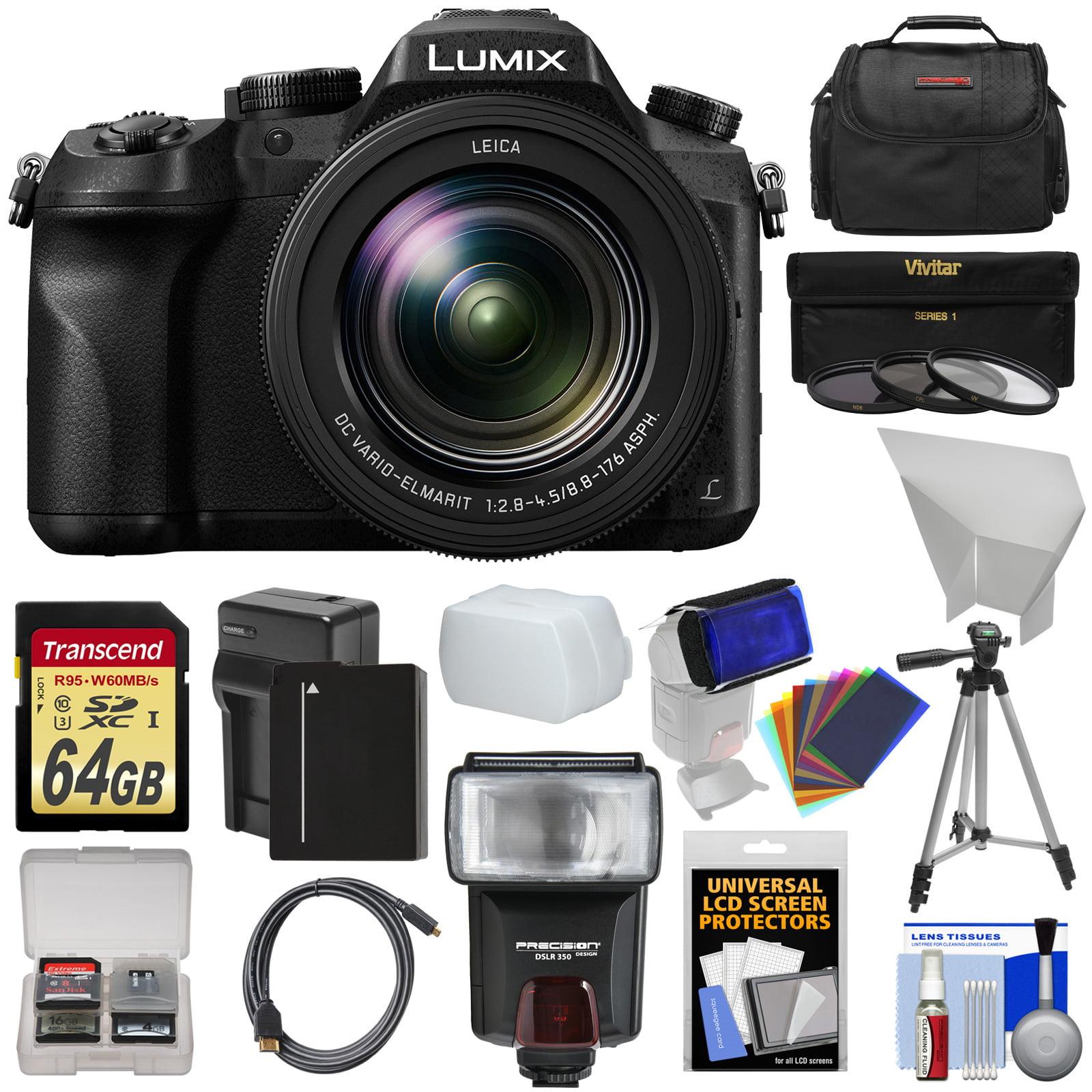 Panasonic Lumix DMC-FZ2500 4K Wi-Fi Digital Camera with 64GB Card + Battery & Charger +