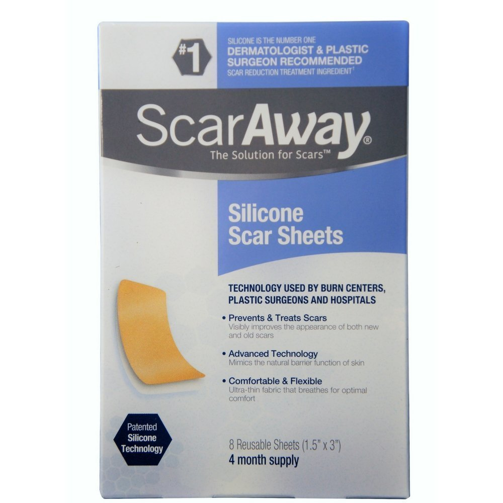 "Silicone Scar Sheets (1.5"" x 3"") 8 ct, Superior adhesion and flex By ScarAway"