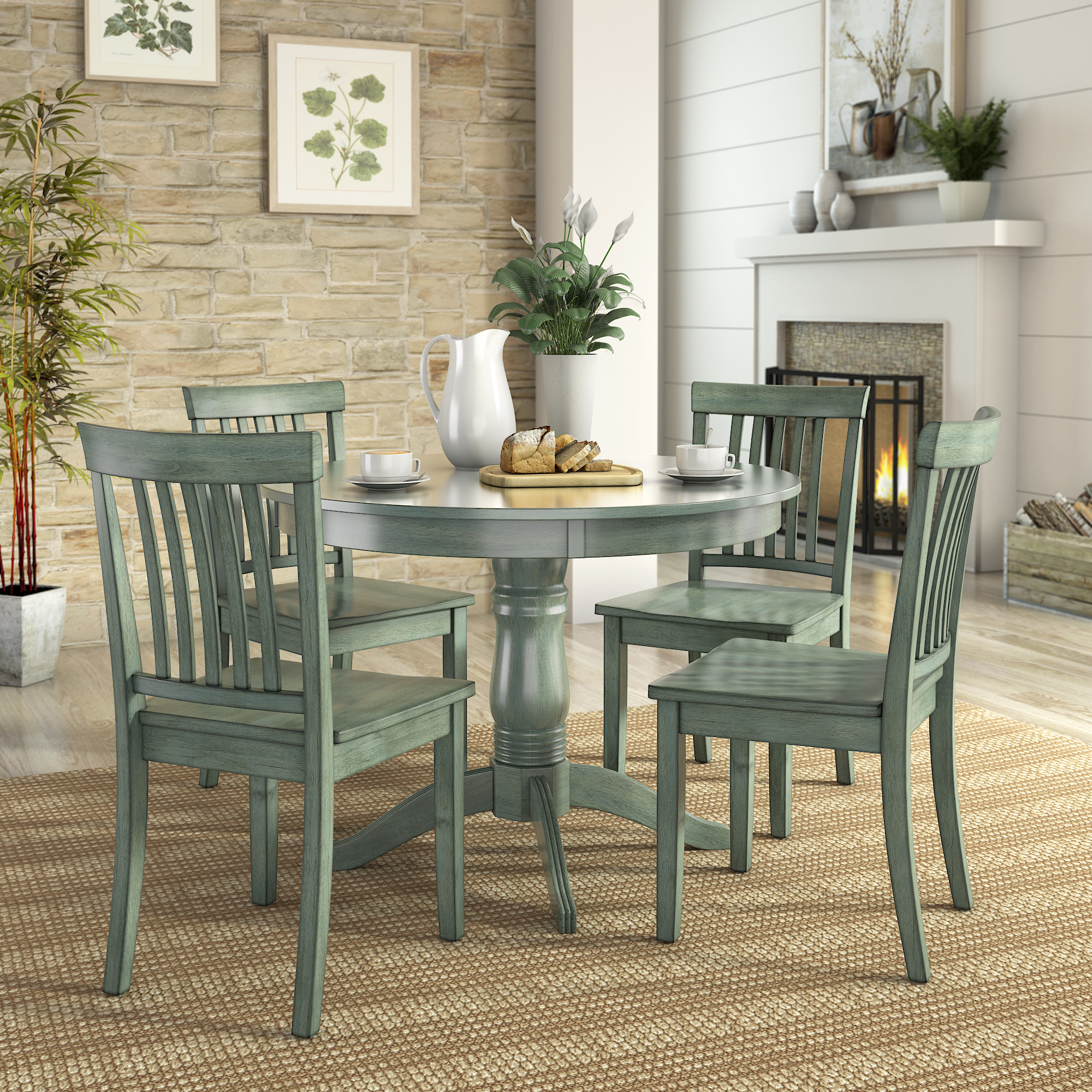 Lexington 5 Piece Dining Set With Round Table And 4 Mission Back