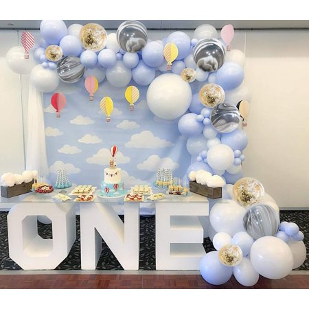 Blue and White Balloons 40 pcs 12 Inch Baby Blue Balloons White Balloons Pack White Marble Balloons and Gold Confetti Party Balloons for Boy Baby Shower Decorations, Boy Birthday Decorations PartyWoo - Birthday Party For Boy