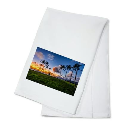 - Palm Trees & Sunset - Lantern Press Photography (100% Cotton Kitchen Towel)