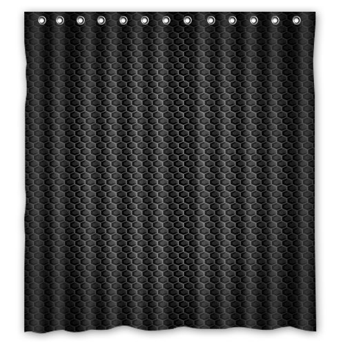 HelloDecor blacks Shower Curtain Polyester Fabric Bathroom Decorative Curtain Size 66x72 Inches