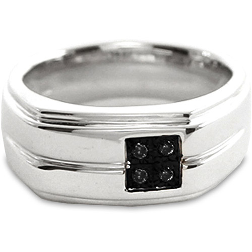 Men's Black Diamond Accent Sterling Silver Ring