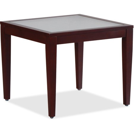 Lorell, LLR59541, Glass Top Mahogany Frame Table, 1 Each