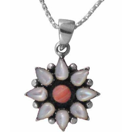 Sterling Silver Genuine Mother of Pearl and Pink Coral Flower Pendant (Pink Pearl Flower Pendant)