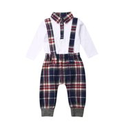 Kiapeise Newborn Baby Boys Fall Clothes Blouse Romper Plaids Bib Pants Outfit Set