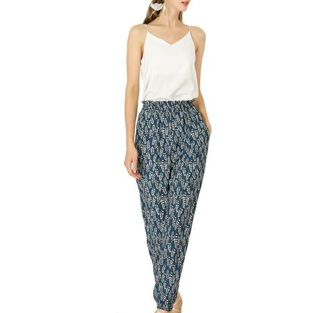 Women's Floral Print Elastic High Waist Lounge Casual Pants Casual Lounging Pant Set