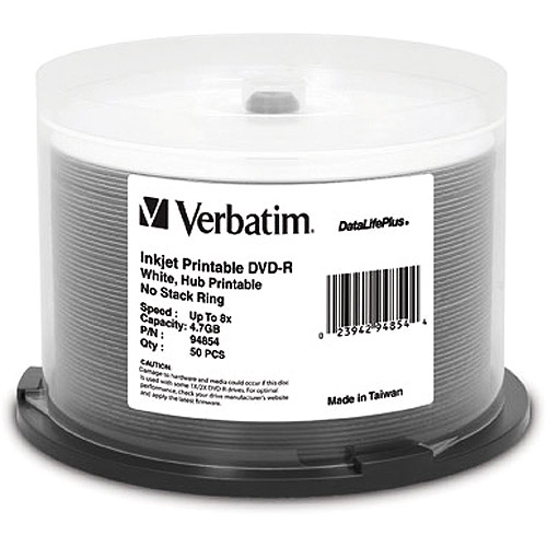 Verbatim DVD-R 4.7GB 8X DataLifePlus White Thermal Printable, Hub Printable 50pk Spindle