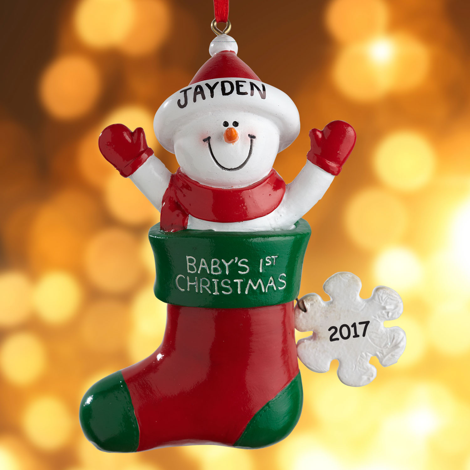 Personalized Baby Snowman in Stocking Christmas Ornament