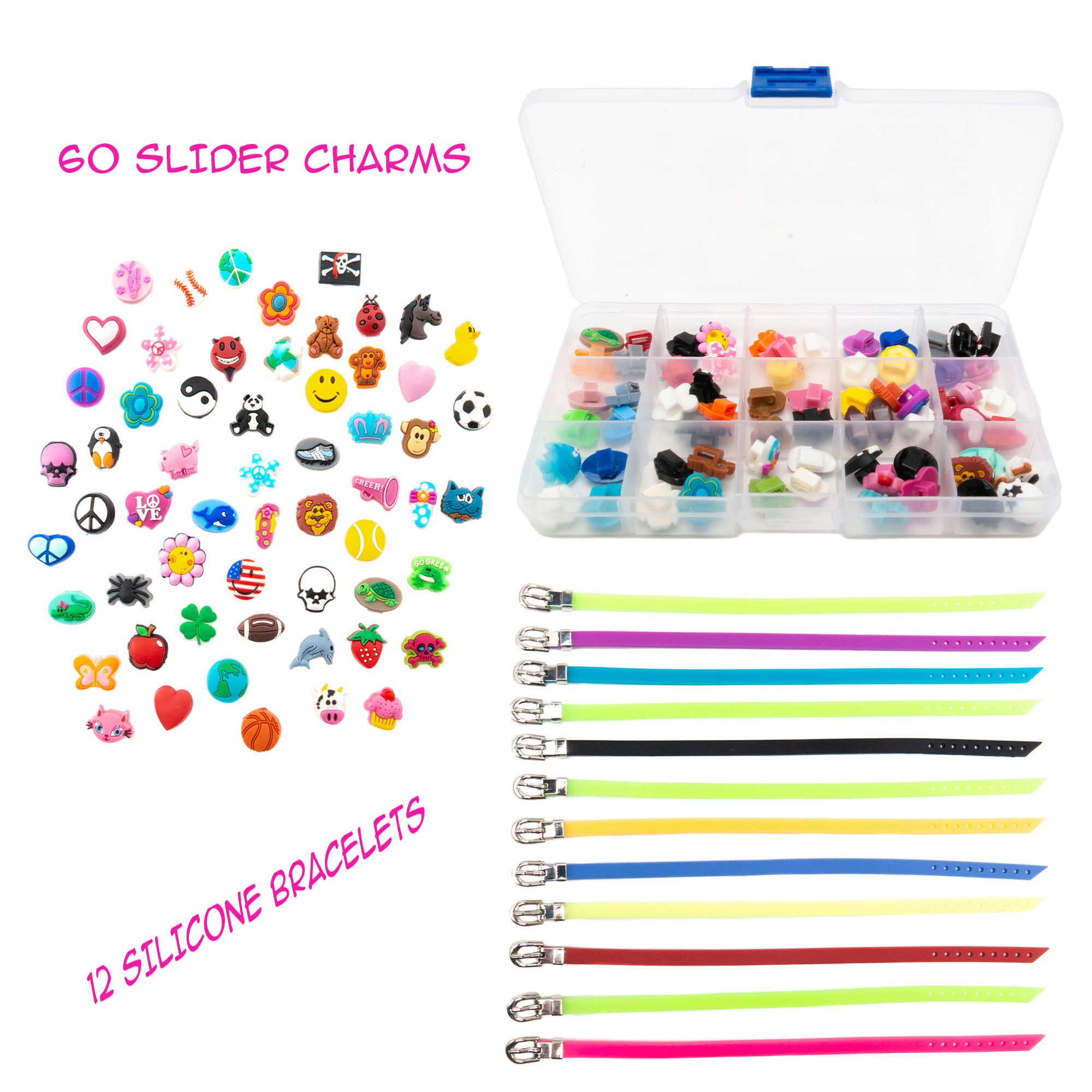 FROG SAC 60 PCs Slider Charms and 12 PCs Adjustable Silicone Belt Bracelets/Wristbands Kit, Assorted Colors, Great for DIY, Jewelry Making, Personalized Kids Birthday Party Favors