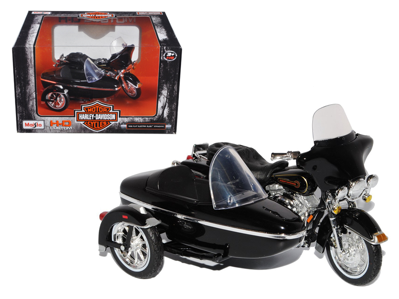 1998 Harley Davidson FLHT Electra Glide Standard with Side Car Black Motorcycle Model 1 18... by Maisto