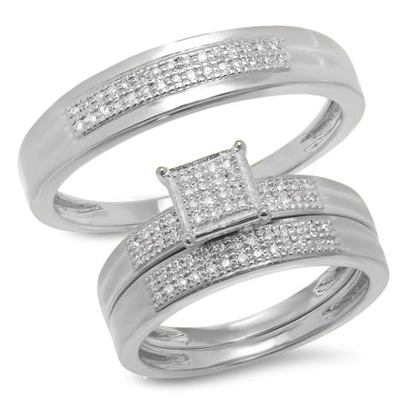 Dazzlingrock Collection 0.25 Carat (ctw) 10K White Diamond Men's & Women's Micro Pave Engagement Ring Trio Bridal Set, White Gold