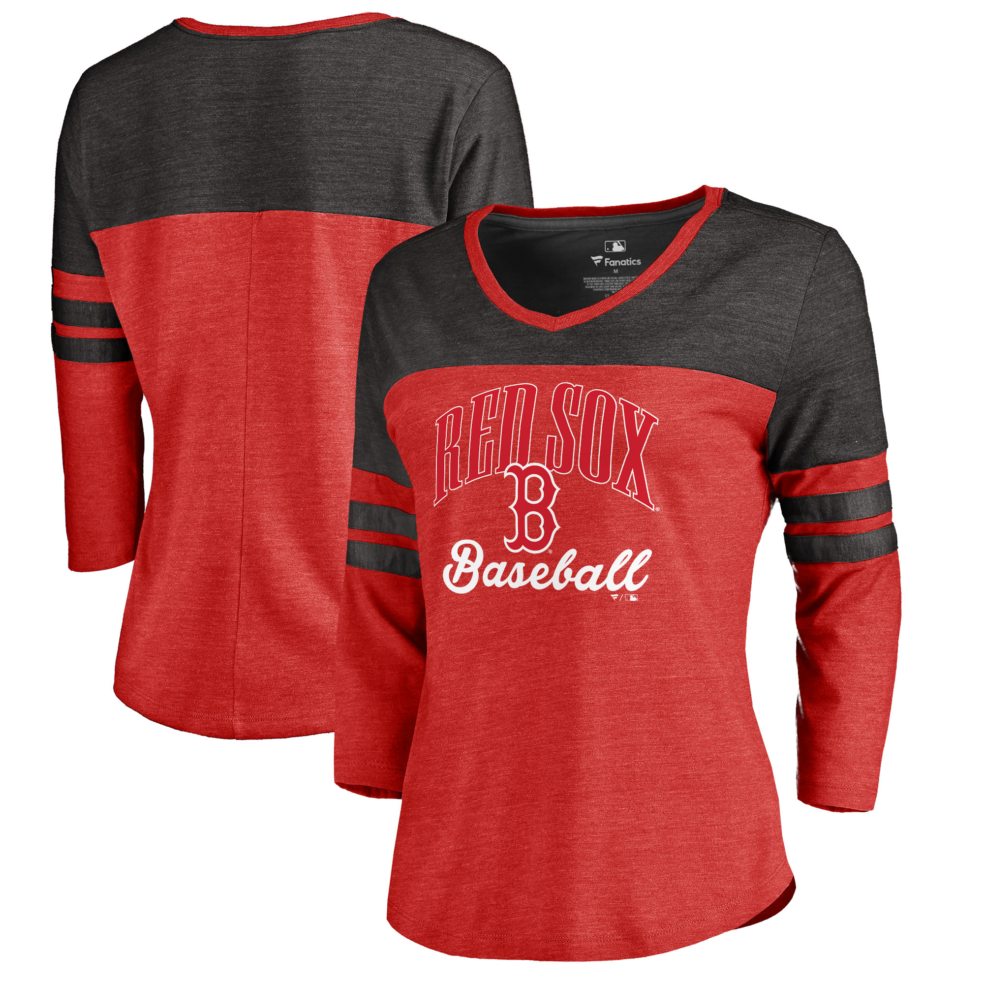 Boston Red Sox Fanatics Branded Women's Showtime Tri-Blend V-Neck 3/4-Sleeve T-Shirt - Red
